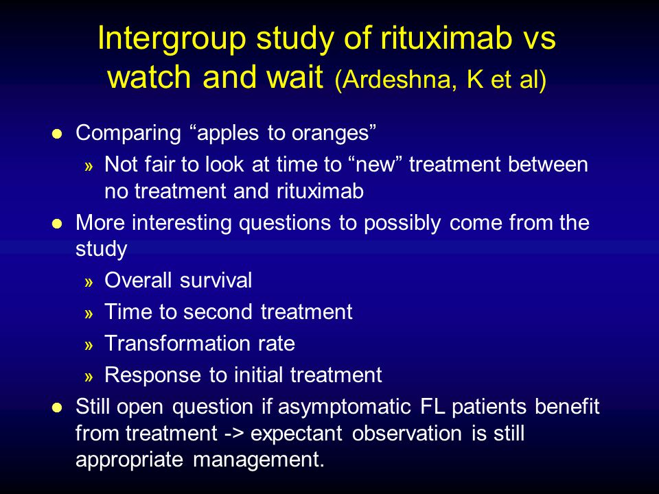 Intergroup study of rituximab vs watch and wait (Ardeshna, K et al)
