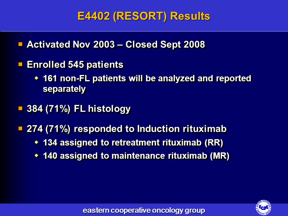 E4402 (RESORT) Results Activated Nov 2003 – Closed Sept 2008
