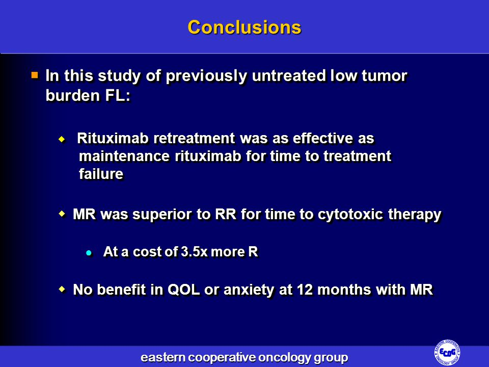 Conclusions In this study of previously untreated low tumor burden FL: