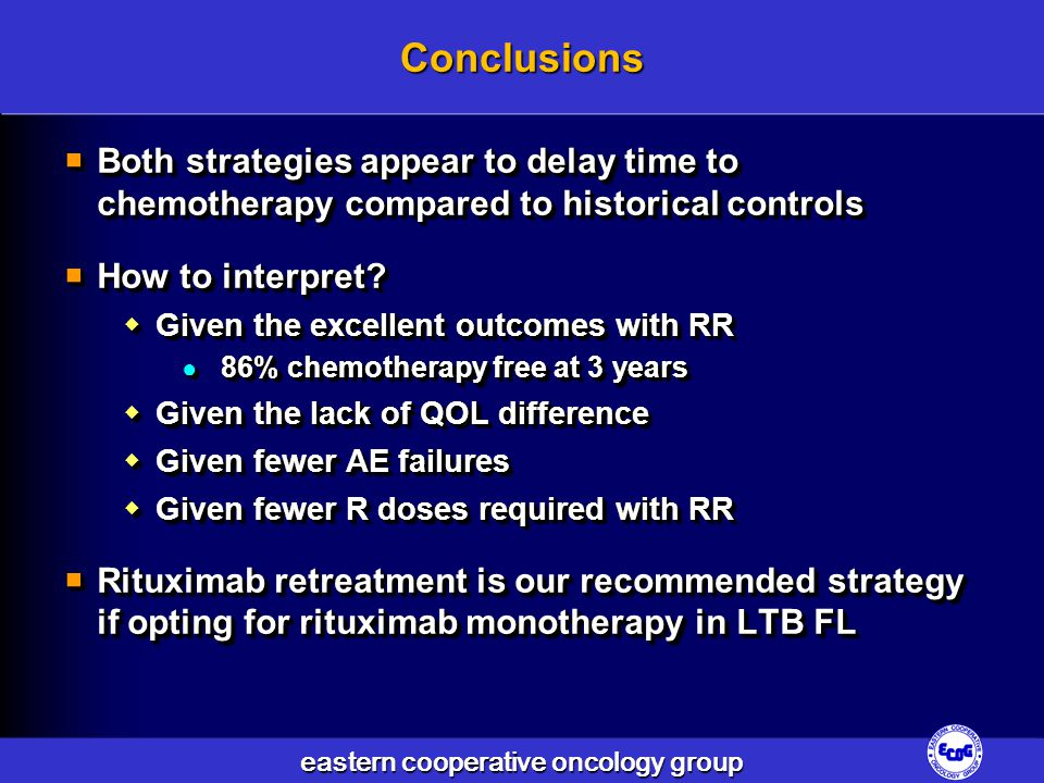 Conclusions Both strategies appear to delay time to chemotherapy compared to historical controls. How to interpret