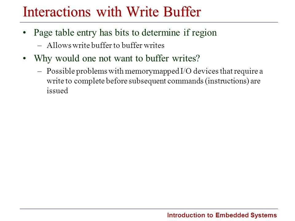 Interactions with Write Buffer