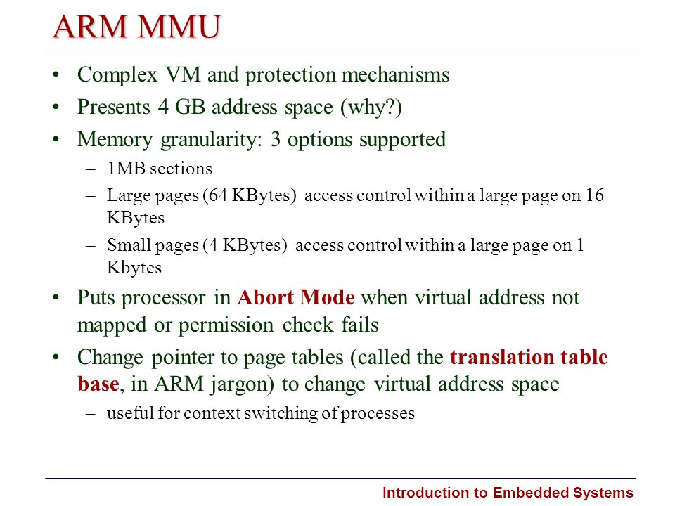 ARM MMU Complex VM and protection mechanisms
