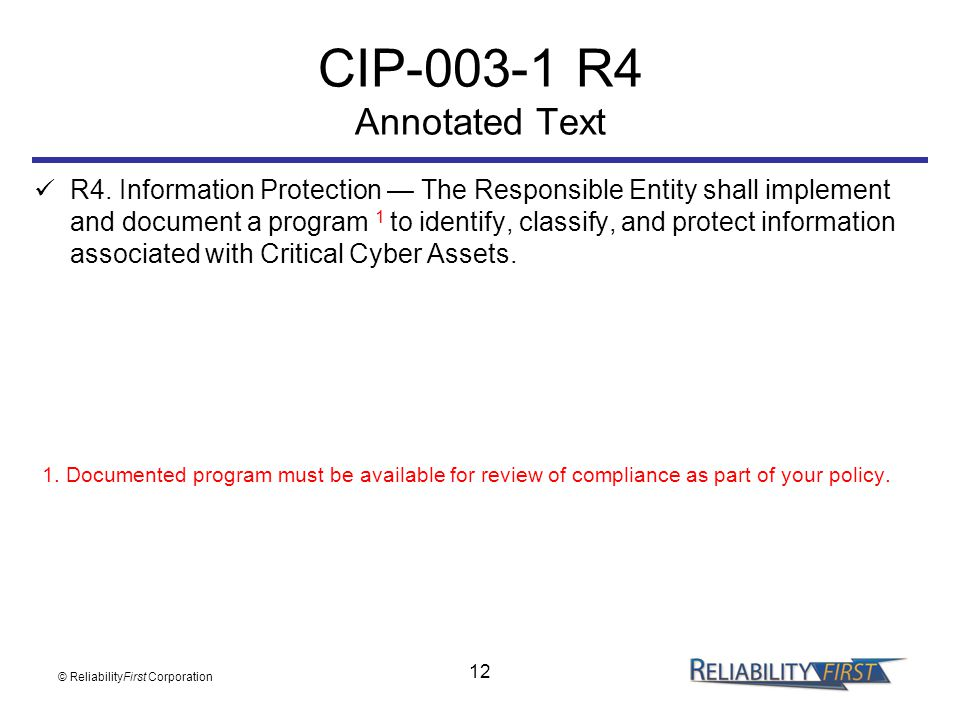CIP-003-1 R4 Annotated Text