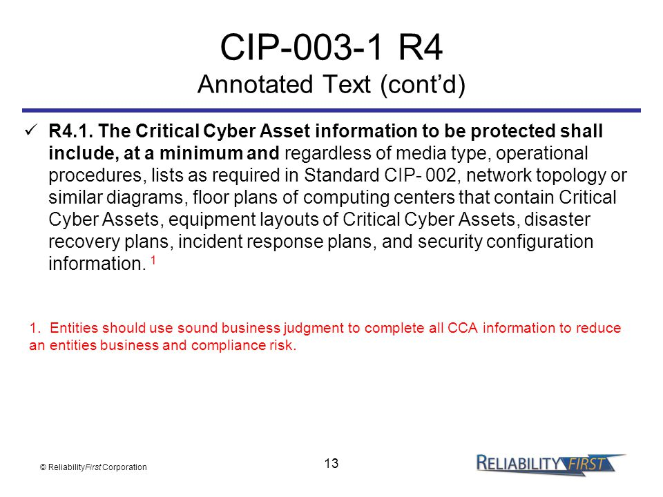 CIP-003-1 R4 Annotated Text (cont'd)