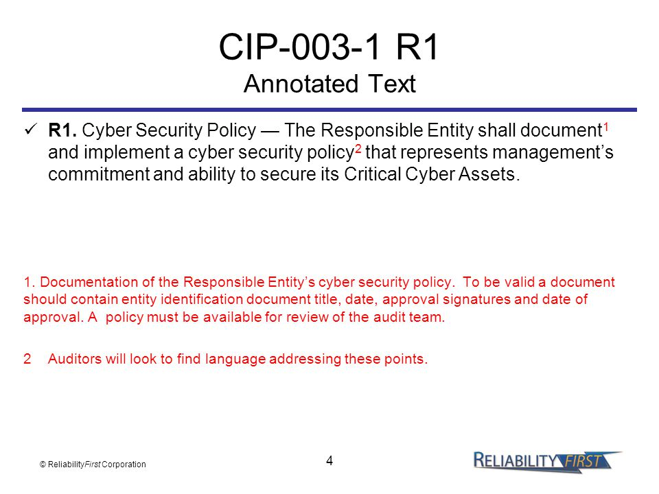 CIP-003-1 R1 Annotated Text