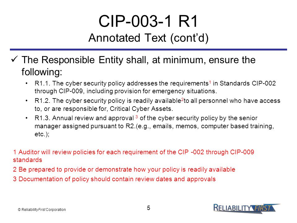 CIP-003-1 R1 Annotated Text (cont'd)