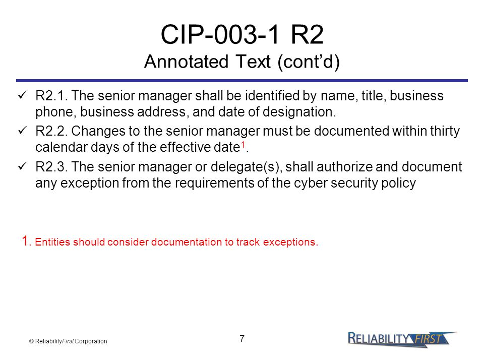 CIP-003-1 R2 Annotated Text (cont'd)