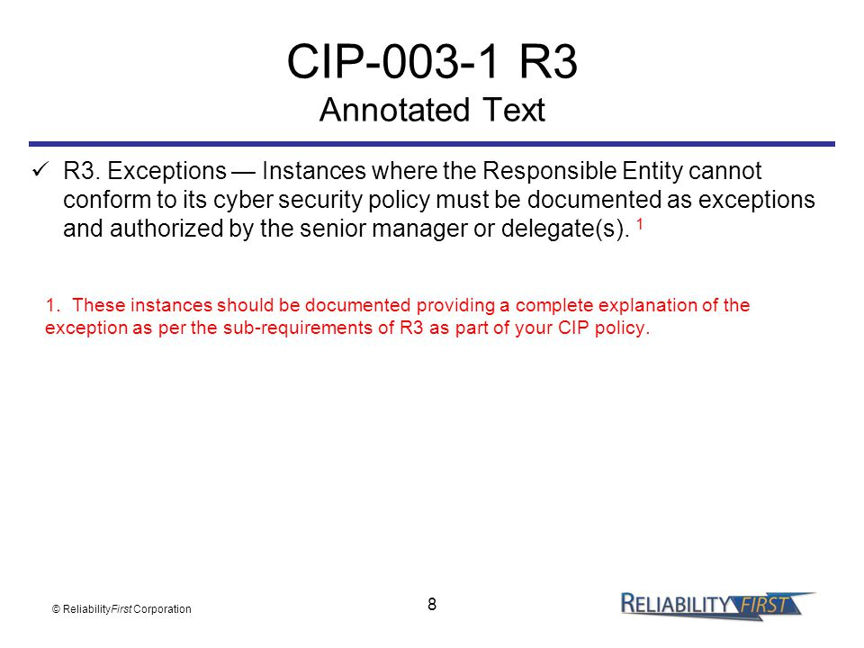 CIP-003-1 R3 Annotated Text
