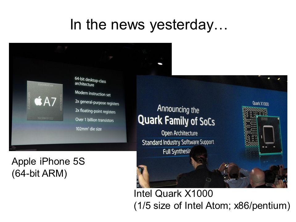 In the news yesterday… Apple iPhone 5S (64-bit ARM) Intel Quark X1000