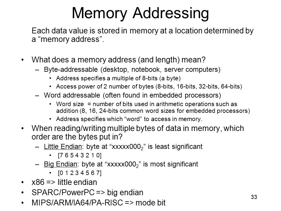 Memory Addressing Each data value is stored in memory at a location determined by a memory address .