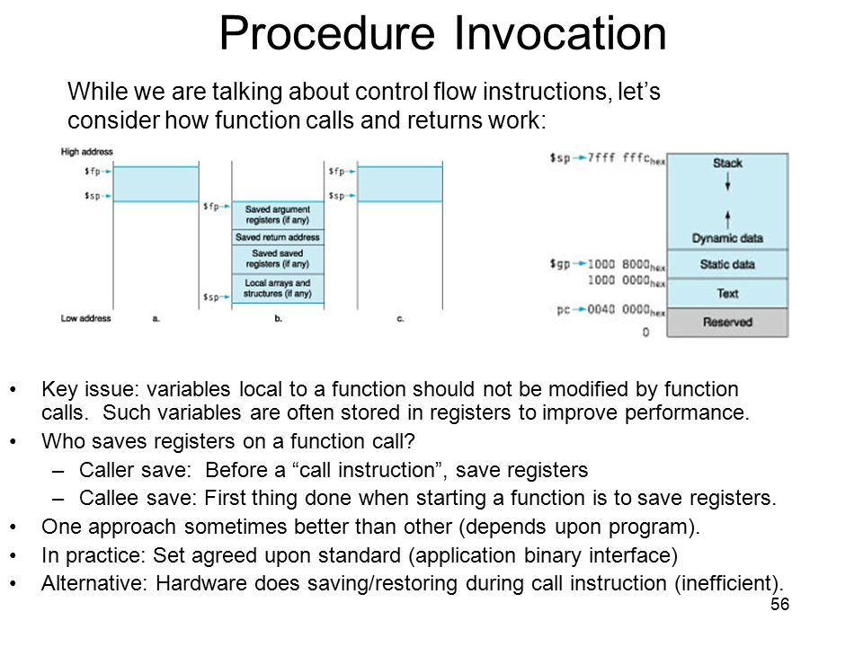 Procedure Invocation While we are talking about control flow instructions, let's. consider how function calls and returns work: