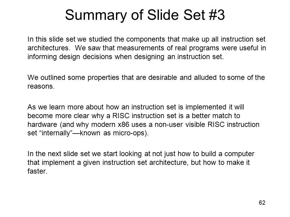 Summary of Slide Set #3