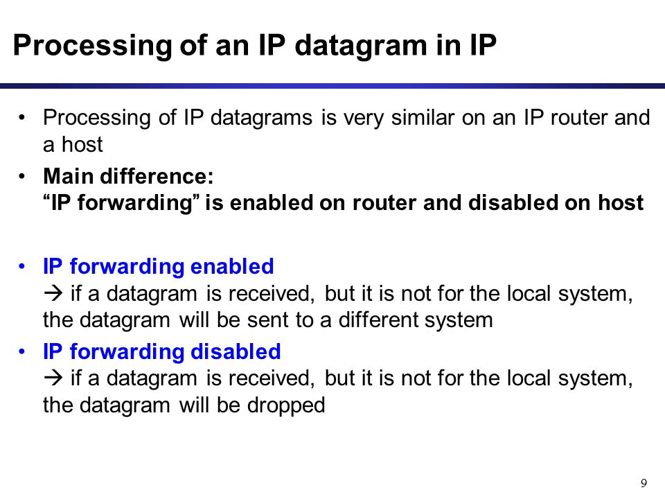Processing of an IP datagram in IP