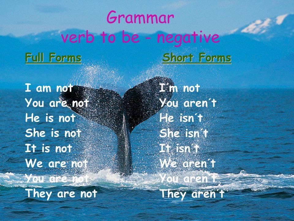 Grammar verb to be - negative