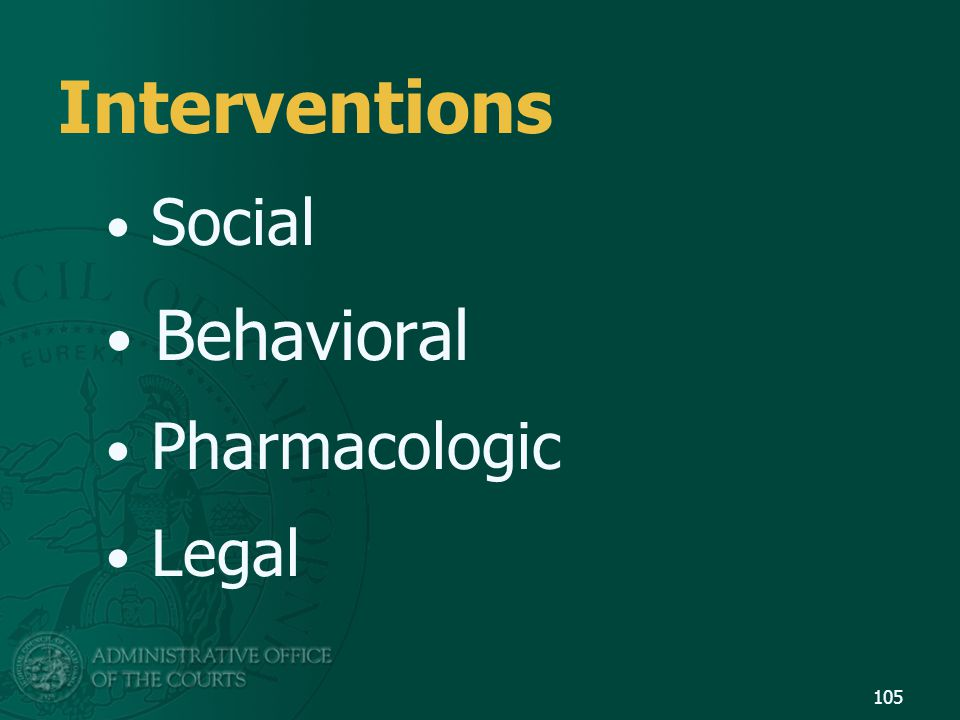 Interventions Social Behavioral Pharmacologic Legal 105