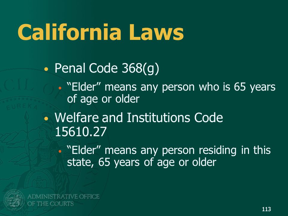 California Laws Penal Code 368(g)