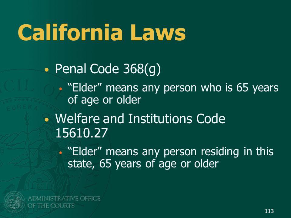 California Laws Penal Code 368(g)