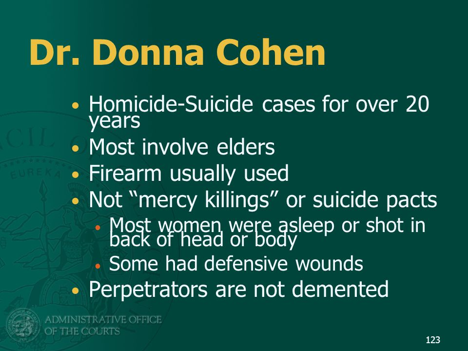 Dr. Donna Cohen Homicide-Suicide cases for over 20 years