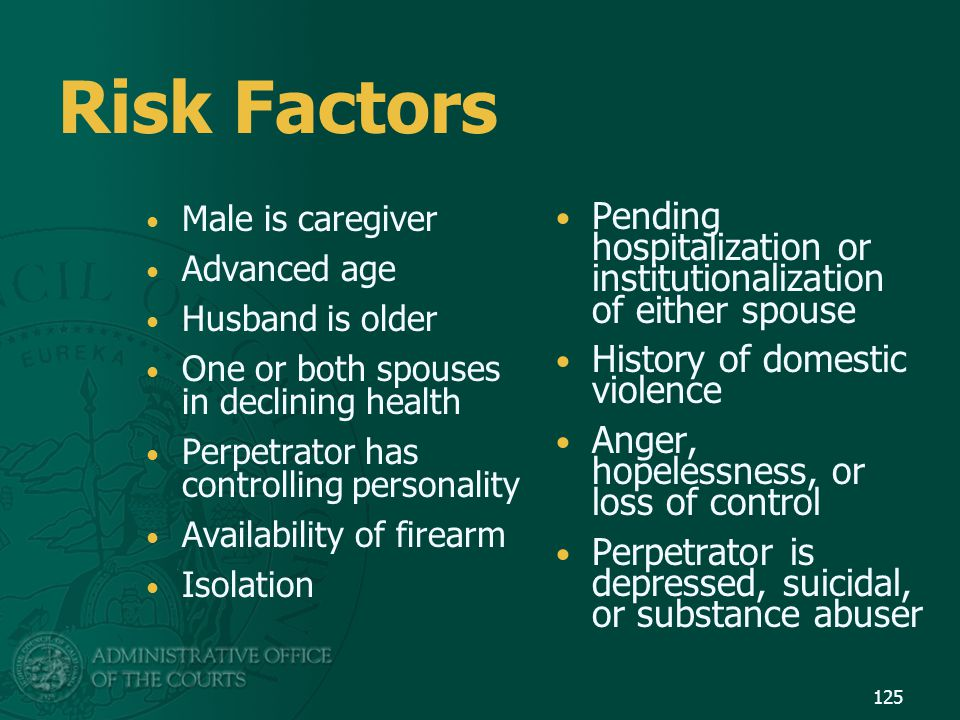 Risk Factors Male is caregiver. Advanced age. Husband is older. One or both spouses in declining health.