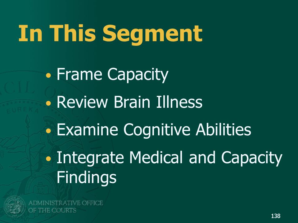 In This Segment Frame Capacity Review Brain Illness
