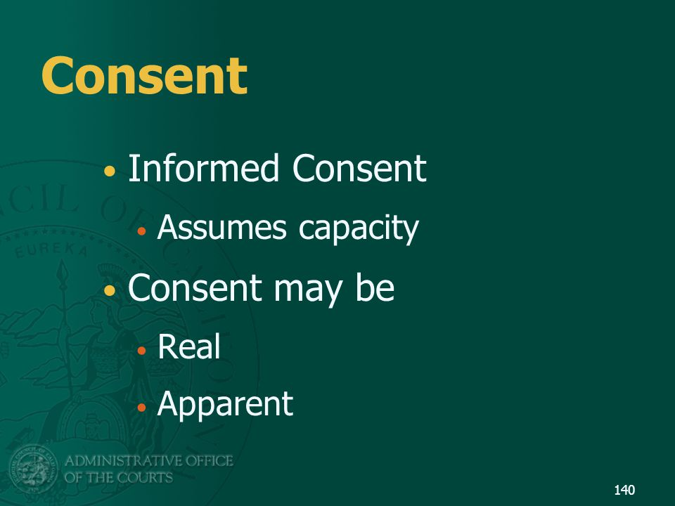 Consent Informed Consent Assumes capacity Consent may be Real Apparent