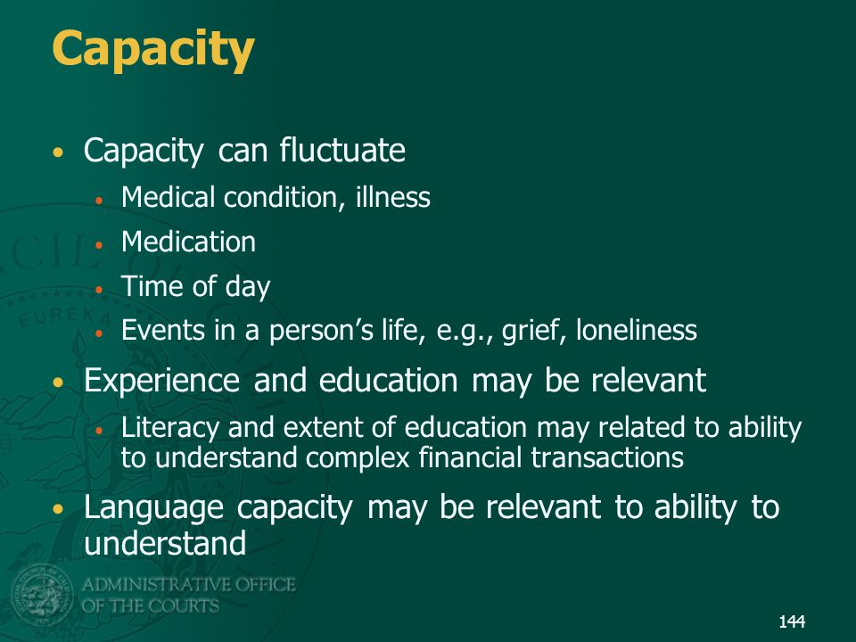 Capacity Capacity can fluctuate