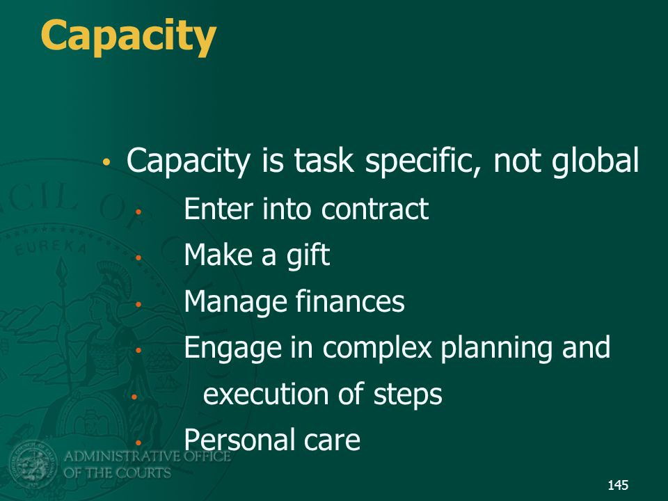 Capacity Capacity is task specific, not global Enter into contract