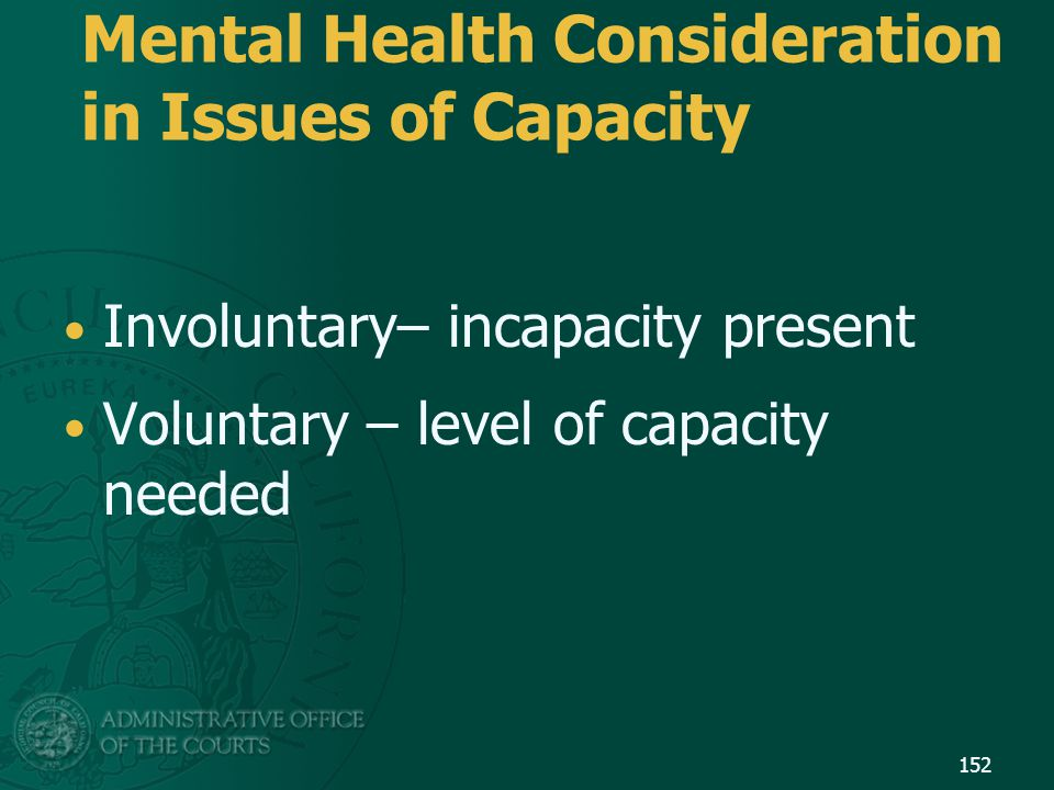 Mental Health Consideration in Issues of Capacity
