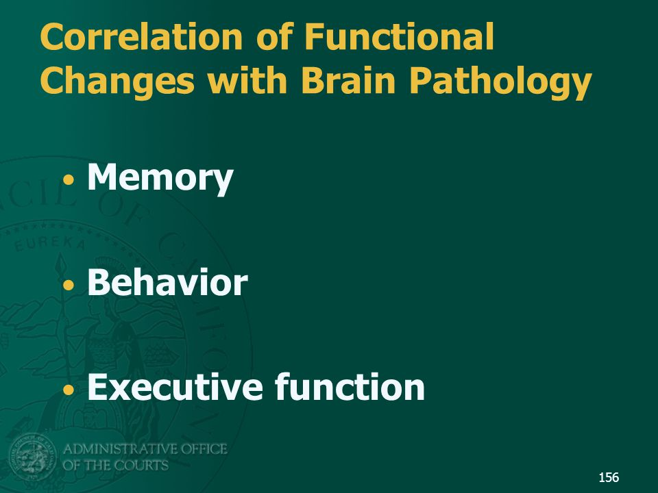 Correlation of Functional Changes with Brain Pathology