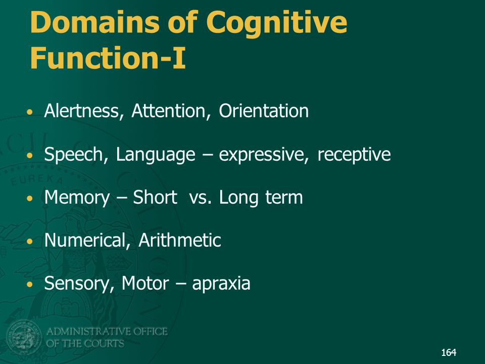 Domains of Cognitive Function-I
