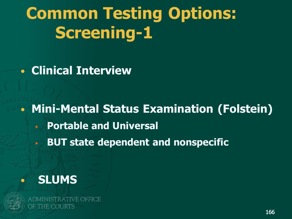 Common Testing Options: Screening-1