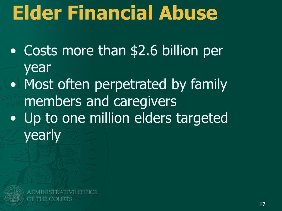 Elder Financial Abuse Costs more than $2.6 billion per year
