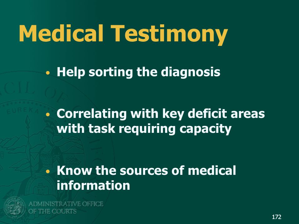 Medical Testimony Help sorting the diagnosis