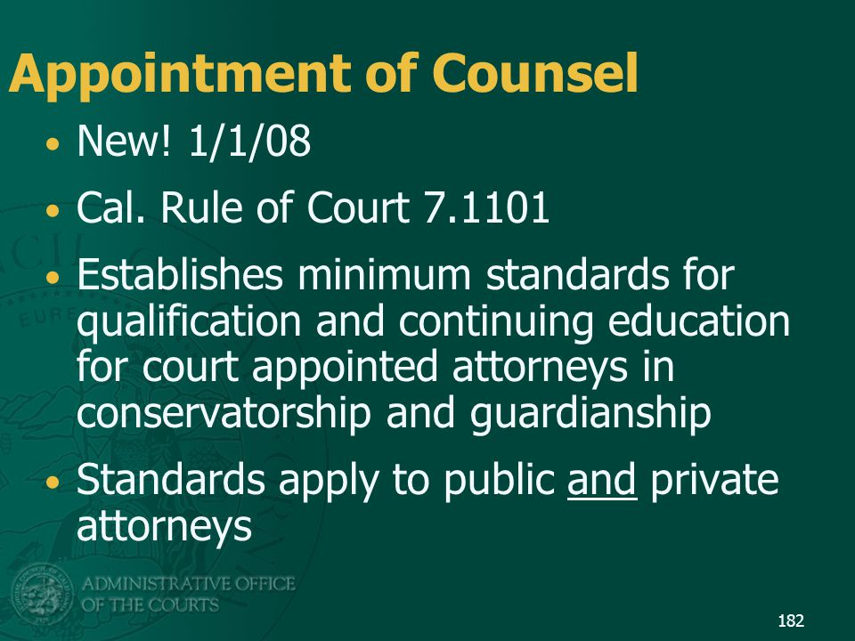 Appointment of Counsel