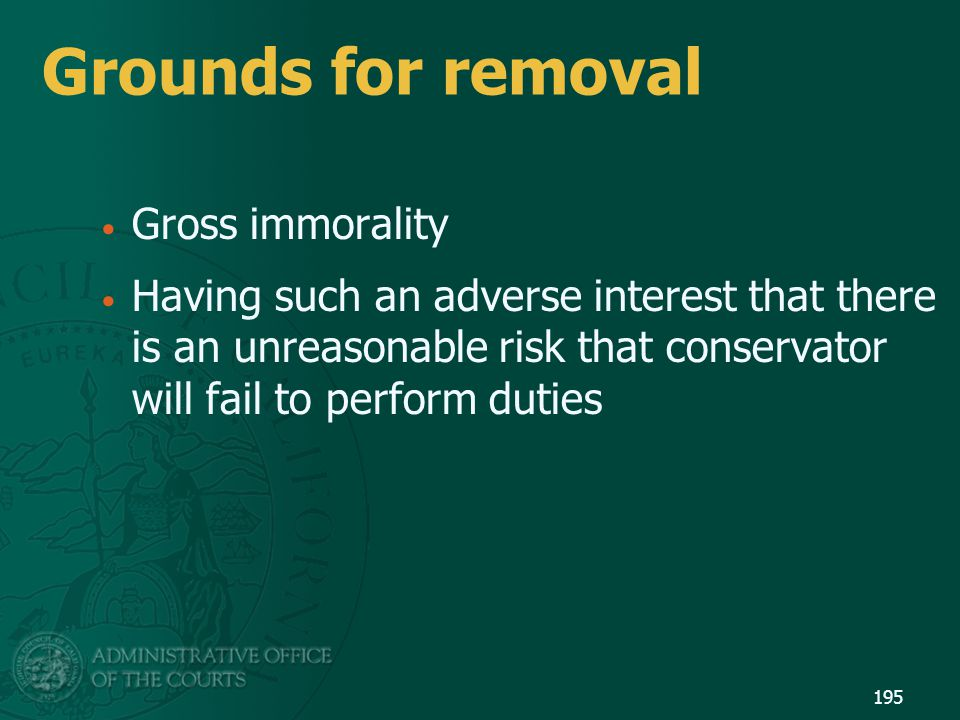 Grounds for removal Gross immorality