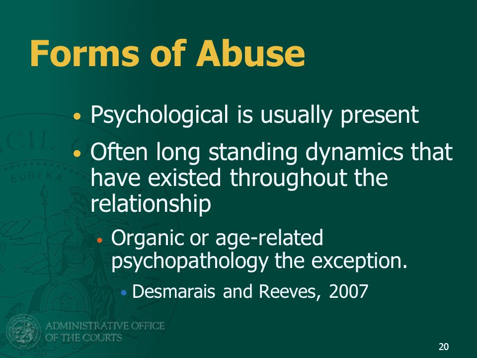 Forms of Abuse Psychological is usually present
