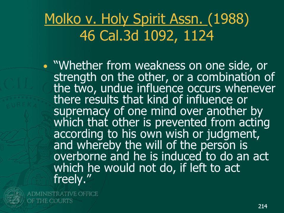 Molko v. Holy Spirit Assn. (1988) 46 Cal.3d 1092, 1124