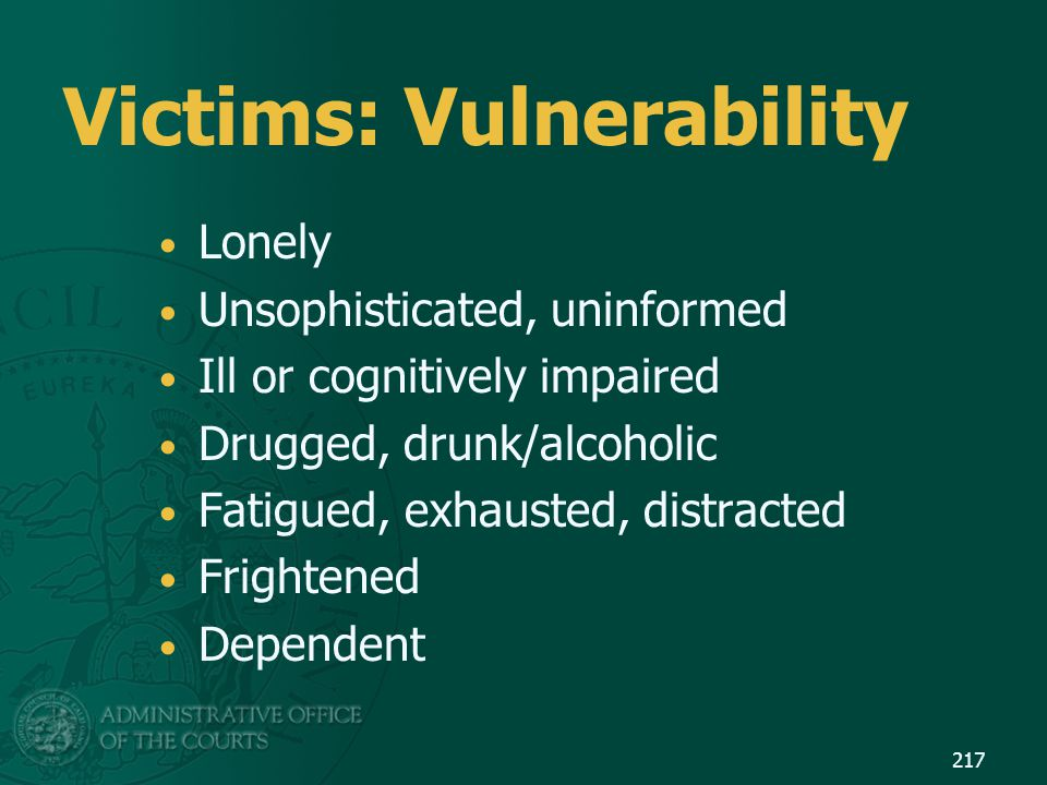 Victims: Vulnerability