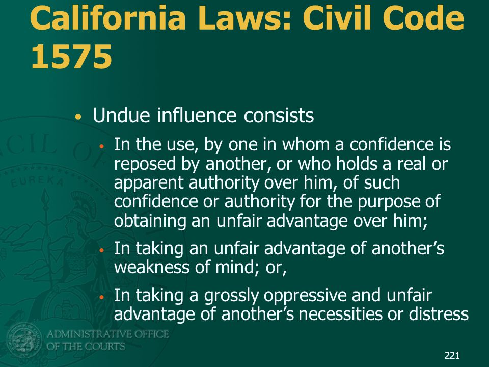 California Laws: Civil Code 1575