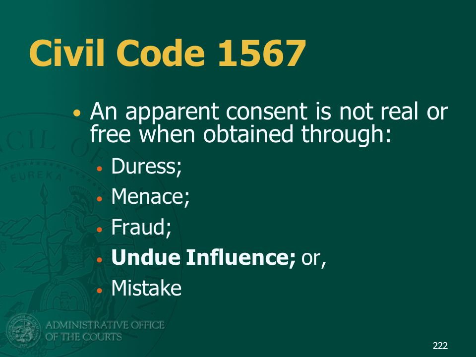 Civil Code 1567 An apparent consent is not real or free when obtained through: Duress; Menace; Fraud;