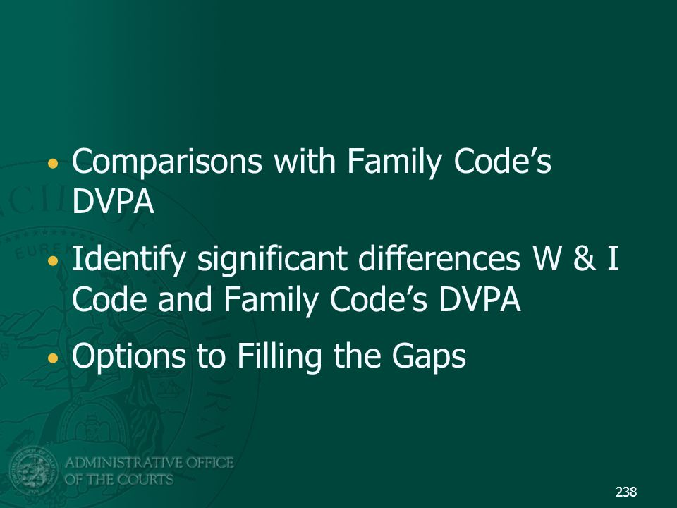 Comparisons with Family Code's DVPA