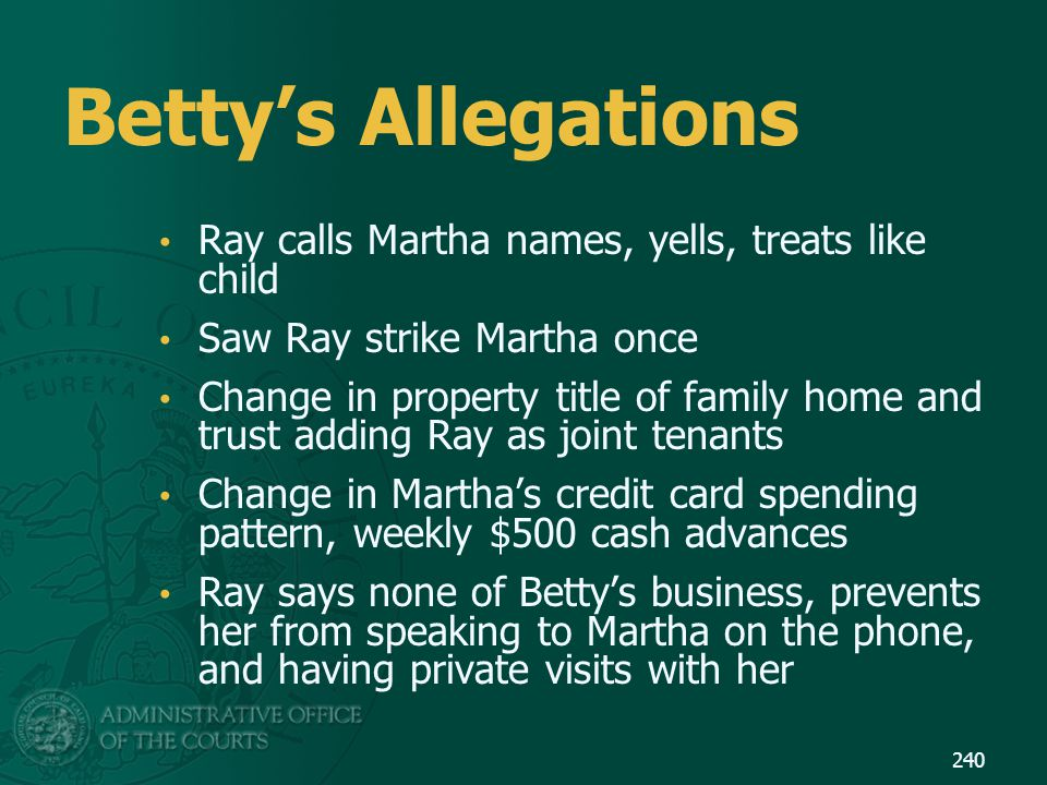 Betty's Allegations Ray calls Martha names, yells, treats like child