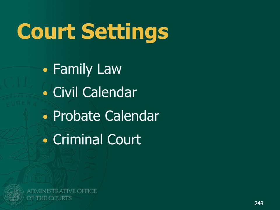 Court Settings Family Law Civil Calendar Probate Calendar