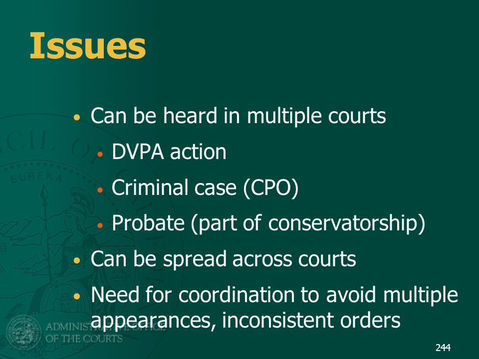 Issues Can be heard in multiple courts DVPA action Criminal case (CPO)