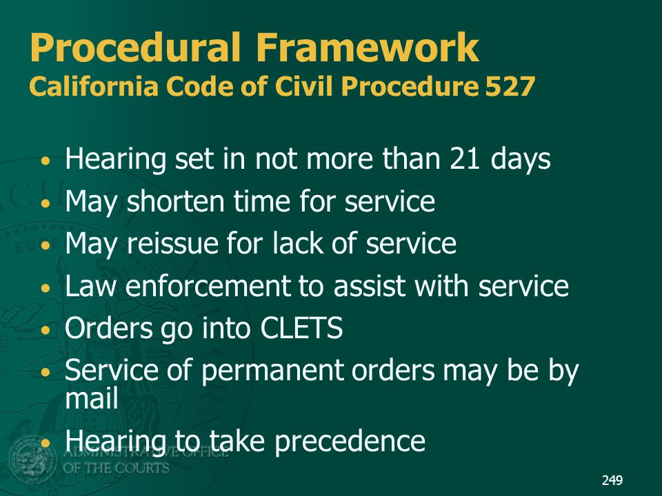 Procedural Framework California Code of Civil Procedure 527