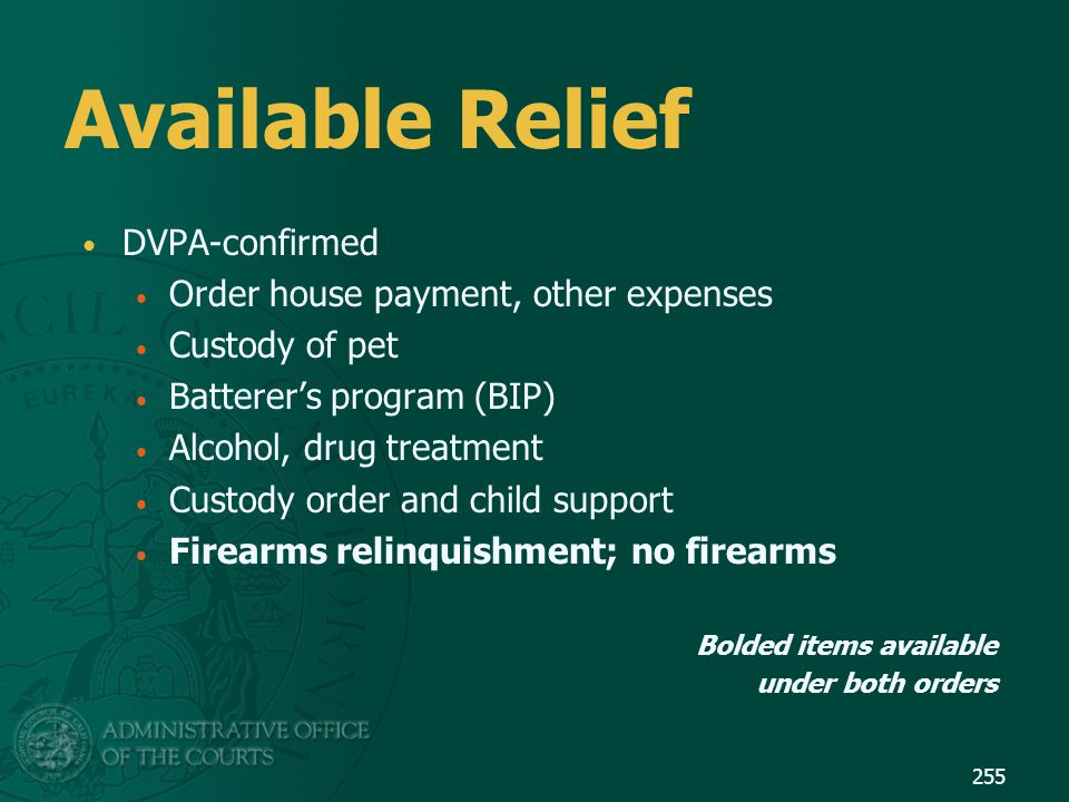 Available Relief DVPA-confirmed Order house payment, other expenses