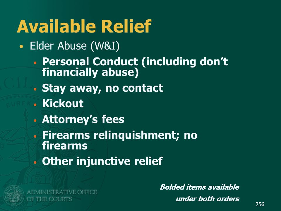 Available Relief Elder Abuse (W&I)