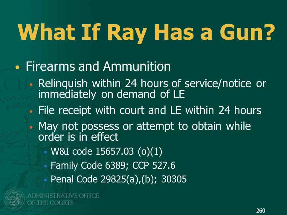 What If Ray Has a Gun Firearms and Ammunition