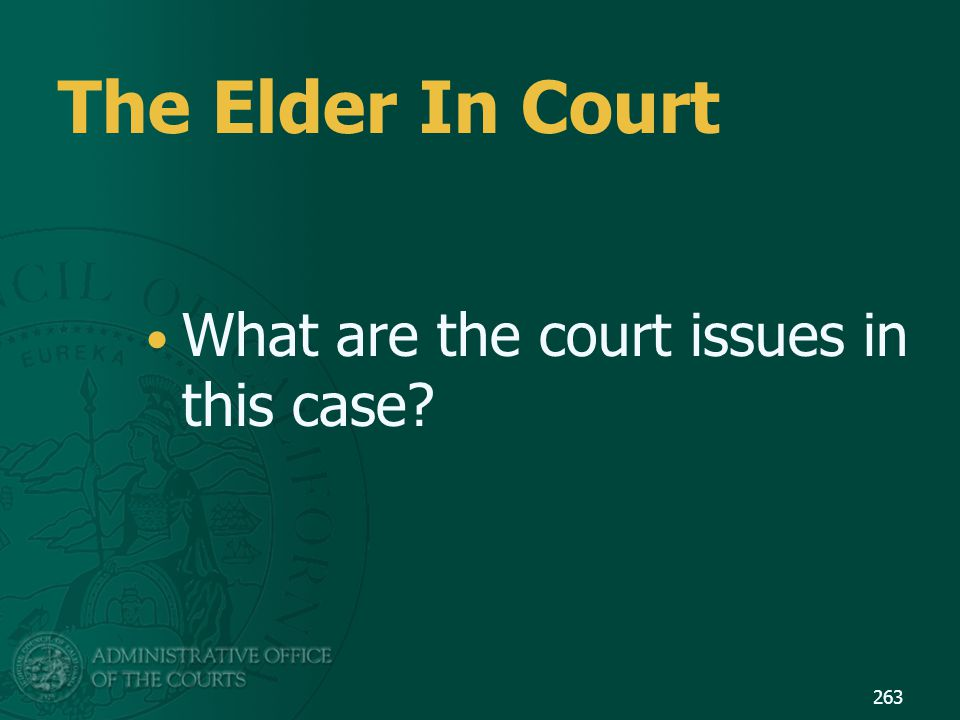 The Elder In Court What are the court issues in this case