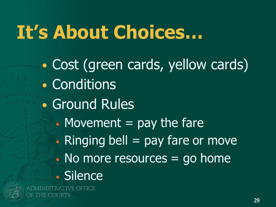 It's About Choices… Cost (green cards, yellow cards) Conditions